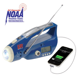 Solar / Hand-Crank Powered Flashlight & Weather Band Radio (6NWB)